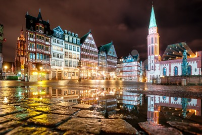 Frankfurt on Main city center, Germany, at night Stock Photo