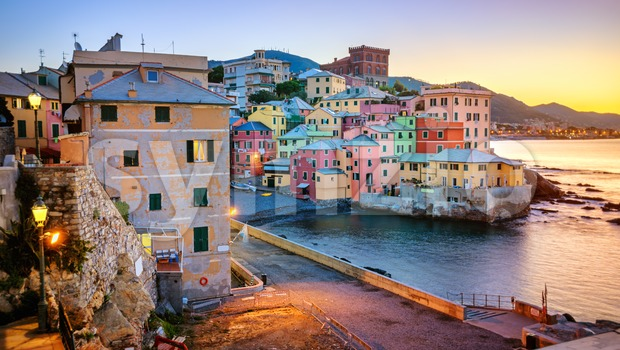 Boccadasse, an old neighbourhood of Genoa city, Italy Stock Photo