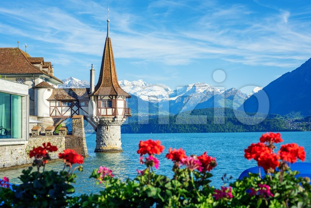 Oberhofen castle on Lake Thun in Bernese Highlands Alps mountains, Canton Bern, Switzerland, in spring time