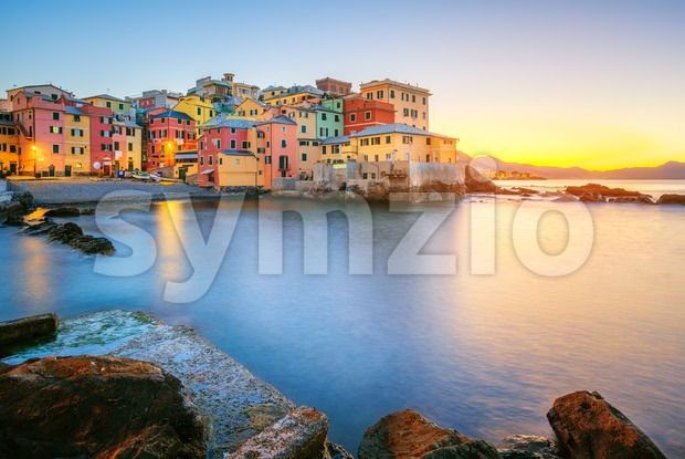 Boccadasse on sunrise, Genoa city, Italy Stock Photo