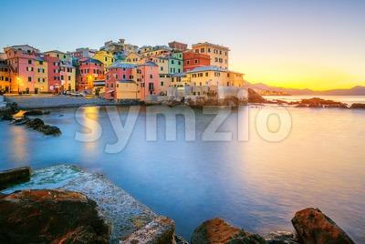 Boccadasse on sunrise, Genoa city, Italy Stock Photo