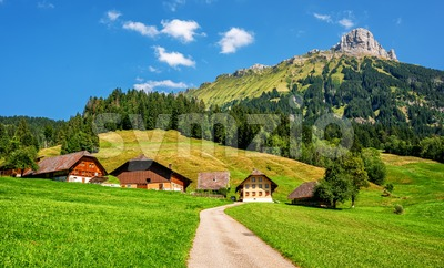 Swiss alpine valley landscape by Schangnau, Bern, Switzerland Stock Photo