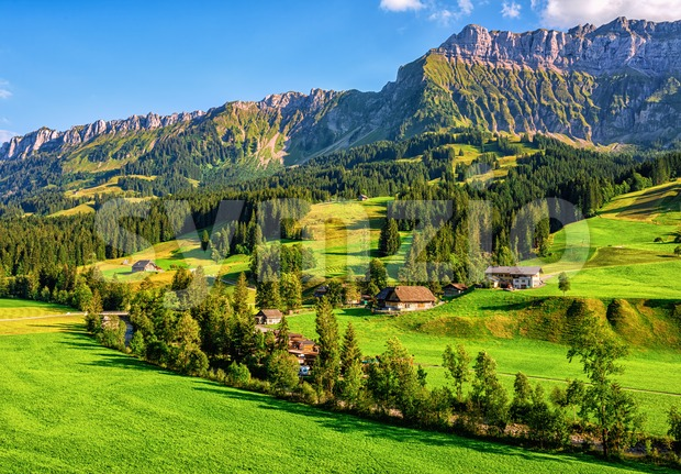 Alpine valley in Emmentaler Alps, Switzerland Stock Photo