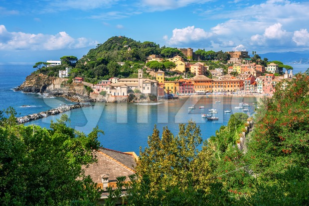 Bay of Silence in Sestri Levante, Italy, a popular resort town in Liguria on italian Mediterranean sea coast