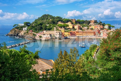 Bay of Silence and Sestri Levante Old town, Italy Stock Photo