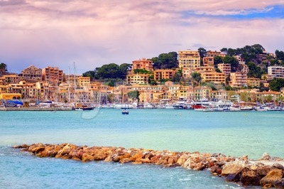 Port town Soller on sunset, Mallorca, Spain Stock Photo
