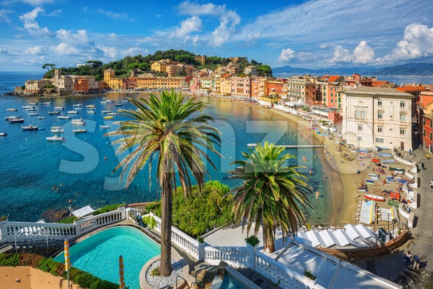 Bay of Silence in Sestri Levante, Italy. Sestri Levante is a popular resort town in Liguria, situated on a peninsula ...