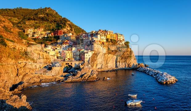Panoramic view of Manarola, Italy, a picturesque village in Cinque Terre, Liguria