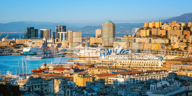 Skyline of Genoa city and port, Italy Stock Photo