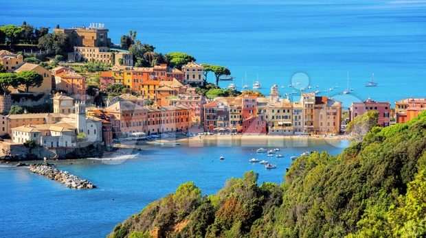 Sestri Levante on Mediterranean sea coast in Italy Stock Photo
