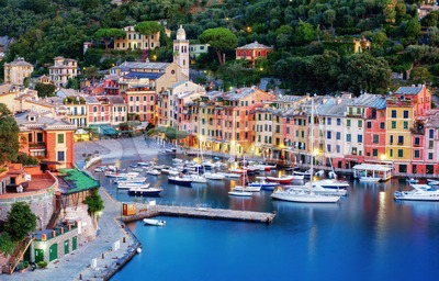Portofino town center and harbor, Genoa, Italy Stock Photo