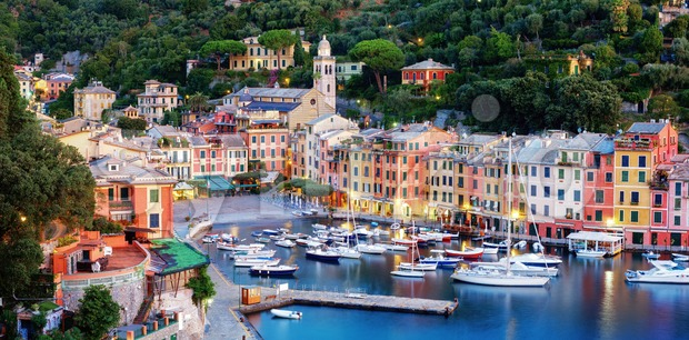 Panorama of Portofino town, Liguria, Italy Stock Photo