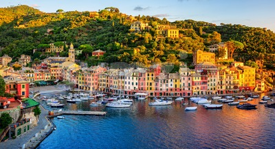 Portofino town on Liguria coast, Genoa, Italy, panorama on sunrise Stock Photo