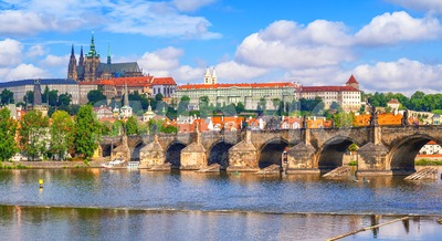 Prague castle and Charles Bridge in Prague, Czech Republic Stock Photo