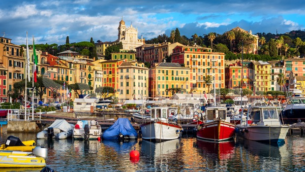 Santa Margherita Ligure port and historical Old town, Rapallo, Genoa, Italy