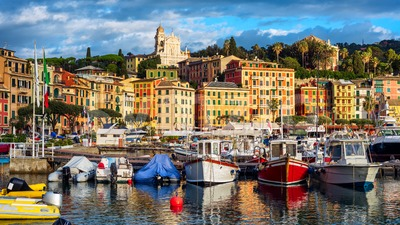 Santa Margherita Ligure port and Old town, Rapallo, Genoa, Italy Stock Photo