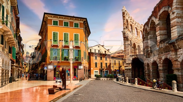 Verona historical Old town center, Italy Stock Photo