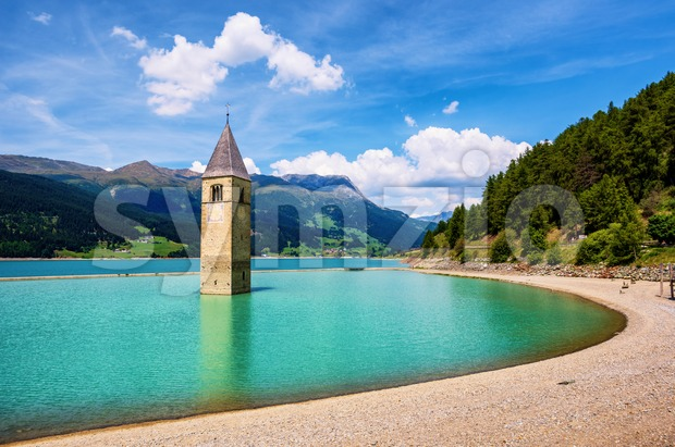 Church in the lake Reschen bell tower, South Tyrol, Italy Stock Photo