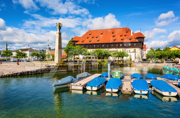 Old port on Lake Constance and the Zeppelin monument in Konstanz, Germany