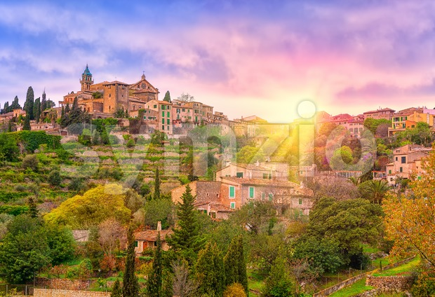 Sunrise in Valdemossa valley, Mallorca, Spain Stock Photo