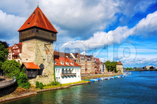 Medieval Rhine Gate Tower in Konstanz, Germany Stock Photo