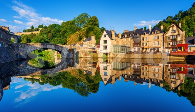 The Old bridge in the port of Dinan town, France Stock Photo