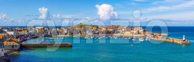 Panoramic view of St Ives, Cornwall, England Stock Photo