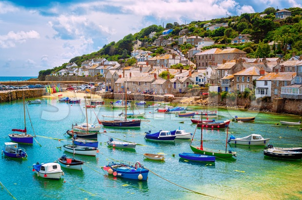 Fishing port of Mousehole village, Cornwall, England Stock Photo