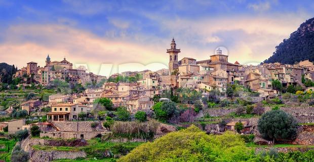 Valdemossa, monastery and hilltop town, Mallorca, Spain. Stock Photo