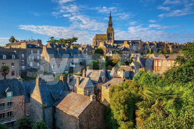 Historical Old town Dinan in Brittany, France