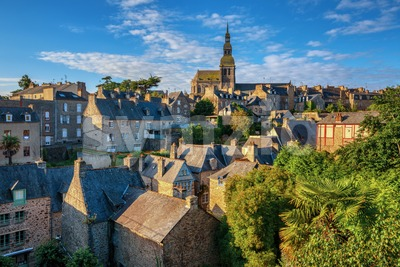 Medieval Old town of Dinan, Brittany, France Stock Photo