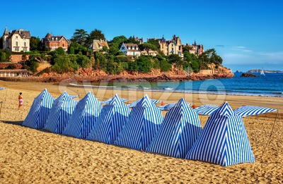 Beach tents in Dinard, Brittany, France Stock Photo