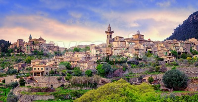 Valdemossa, monastery and hilltop town, Mallorca, Spain. Stock Photo