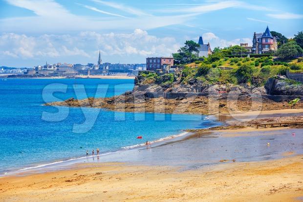 Atlantic Emerald coast by St Malo, Brittany, France Stock Photo