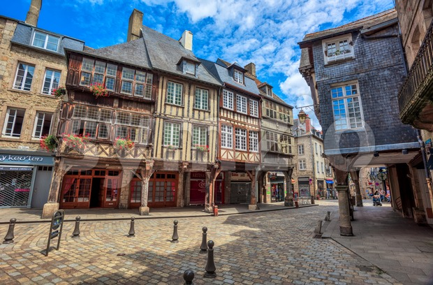 Half-timbered medieval houses in Dinan historical Old town, Brittany, France Stock Photo