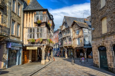 Half-timbered traditional houses in Dinan historical Old town, Brittany, France Stock Photo