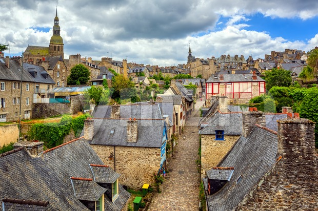Historical Old town Dinan, famous for its medieval architecture, is a popular tourist destination in Brittany, France