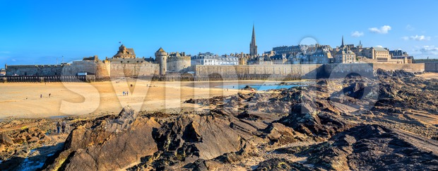 Panoramic view of the historical walled city of St Malo on Atlantic coast of Brittany, France