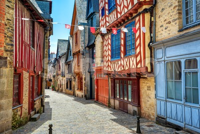 Vitre historical Old town, Brittany, France Stock Photo