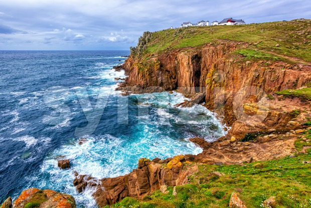 Land's End cape, Cornwall, is a most western point of England, UK