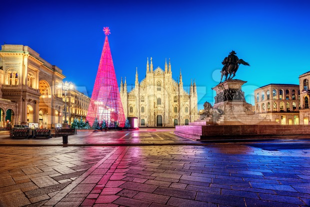 Milan Duomo cathedral square in the center of the city, illuminated for Christmas, Italy