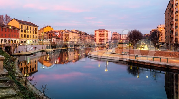 Darsena del Naviglio pond in Porta Ticinese quarter, Milan, Italy Stock Photo