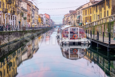 Naviglio Grande canal in Milan city, Italy Stock Photo