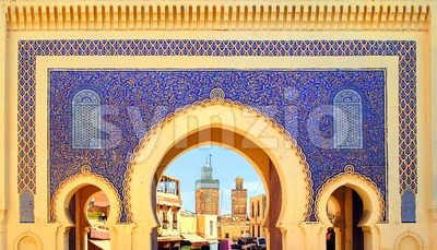 Blue Gate Bab Boujelud in Fes, Morocco Stock Photo