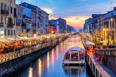 Naviglio Grande canal in Milan, Italy, on sunset Stock Photo