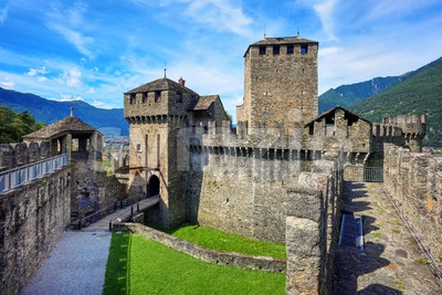 Montebello castel in Bellinzona, Tessin, Switzerland Stock Photo