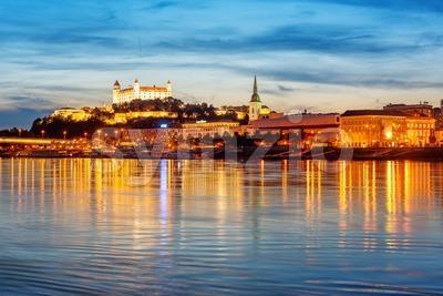 Bratislava Old town on Danube river, Slovakia Stock Photo