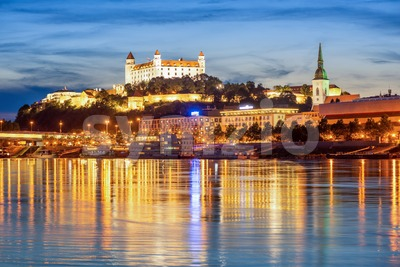 Bratislava Old town on Danube river, Slovakia, in the evening Stock Photo