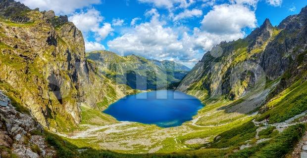 Panoramic view of two lakes, Morskie Oko and Black lake, in polish Tatra mountains in Zakopane, Poland