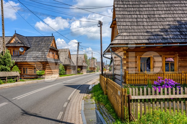 Wooden houses in Chocholow village by Krakow, Poland Stock Photo